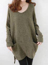 Scoop Neck High Low Sweater With Pockets