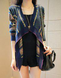 Stylish Turn-Down Collar Long Sleeve Pattern-Knit Cardigan For Women