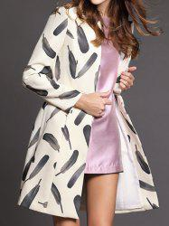 Vintage Stand-Up Collar Long Sleeves Feather Printed Zippered Trench Coat For Women -