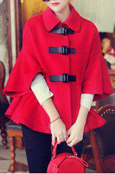 Trendy Style Turn-Down Collar Solid Color Cape Flare Sleeve Women's Coat -