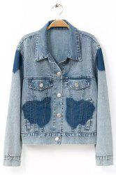 Stylish Turn-Down Collar Long Sleeve Color Block Frayed Denim Women's Jacket -