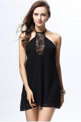 Sexy Halterneck Backless Sleeveless Lace Splicing Black Dress For Women - BLACK