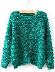 Cute Round Neck Candy Color Openwork Long Sleeve Sweater For Women -