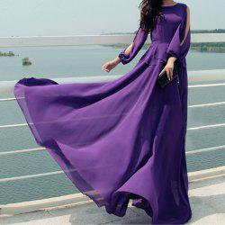 Stylish Jewel Neck Solid Color Off-The-Shoulder Long Dress For Women -