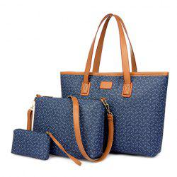 Fashion PU Leather and Anchor Design Women's Shoulder Bag - BLUE