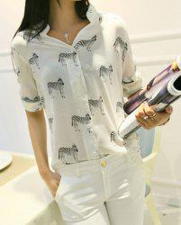 Stylish V-Neck 3/4 Sleeves Zebra Printed Blouse For Women -