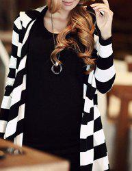 Stylish Striped Loose-Fitting Long Sleeve Hoodie For Women -