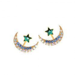 Pair of Women's Shining Rhinestone Embellished Moon Shape Earrings