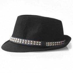 Hot Sale Stud Design Felt Fedora Hat For Men and Women - BLACK