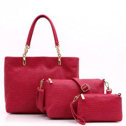 Trendy Solid Color and Crocodile Print Design PU Leather Women's Shoulder Bag