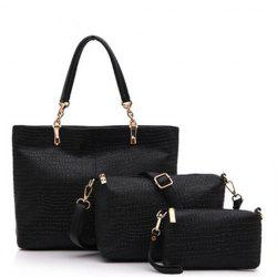Trendy Solid Color and Crocodile Print Design PU Leather Women's Shoulder Bag -