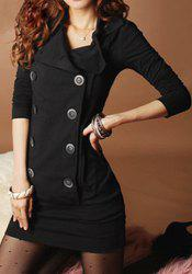 Stylish Turn-Down Collar Long Sleeve Double-Breasted Dress For Women -