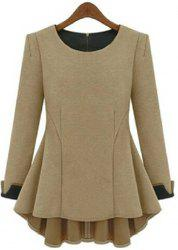 Stylish Scoop Neck Long Sleeves Solid Color Flounce T-Shirt For Women -
