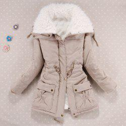 Stylish Turn-Down Collar Long Sleeve Drawstring Fleece Lined Coat For Women