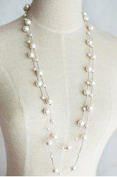 Sweet Women's Pearl Layered Sweater Chain Necklace - SILVER