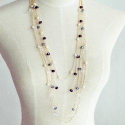 Gorgeous Women's Black Beads Embellished Sweater Chain Necklace