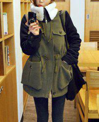 Casual Turn-Down Collar Color Block Drawstring Design Long Sleeve Coat For Women - ARMY GREEN