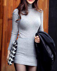 Long Sleeve Bodycon Mini Turtleneck Jumper Dress - GRAY