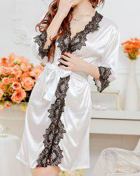 Sweet Style Flower Black Lace Edge Babydoll For Women - WHITE