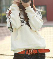 Stylish Hooded Long Sleeve Snowflakes Fawn Pattern Loose-Fitting Women's Hoodie