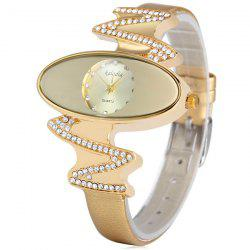 Kaladia 8916 Quartz Watch Diamond Elliptical Dial Leather Strap for Women - GOLDEN