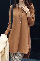 Stylish Jewel Neck Long Sleeve Zippered Solid Color T-Shirt For Women