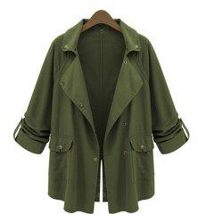 Stylish Turn-Down Collar Loose-Fitting Long Sleeve Solid Color Trench Coat For Women -