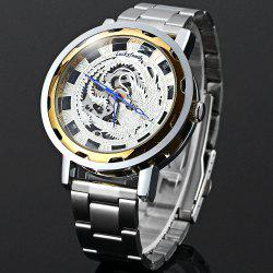 Lucky family Automatic Mechanical Watch Phoenix Pattern Hollow-out Round Dial Stainless Steel Strap for Women -