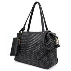Fashion Checked and Black Design Women's Shoulder Bag -