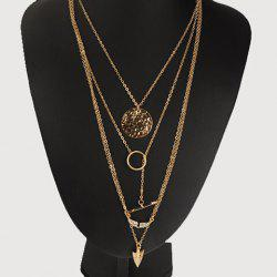 Angle Wing Arrow Pendant Layered Necklace - GOLDEN