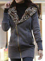 Stylish Long Sleeve Leopard Zippered Women's Hoodie