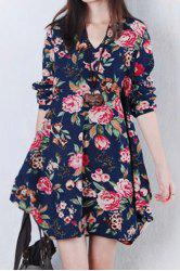 Sweet V-Neck Long Sleeves Floral Printed Dress For Women -
