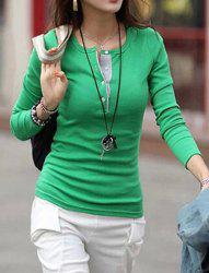 Stylish Jewel Neck Long Sleeve Color Block T-Shirt For Women