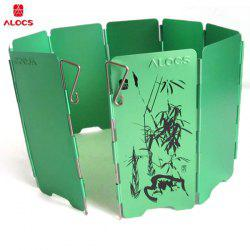 ALOCS CS-B05 Aluminum Alloy 9-piece Wind Screen Windshield Stove Fender Board for Outdoor Camping - Season Serial - GREEN