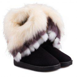 Furry Trim Ankle Boots - BLACK 37