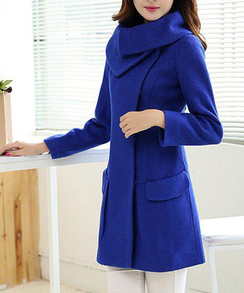 48cb066148 2018 Stylish Long Sleeves Solid Color Pockets Wool Coat For Women In ...