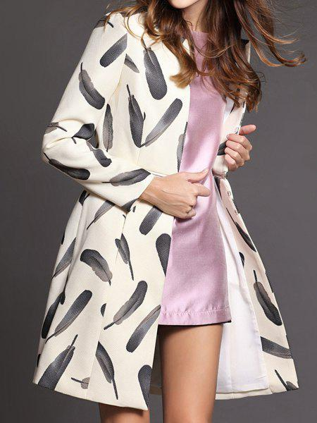 New Vintage Stand-Up Collar Long Sleeves Feather Printed Zippered Trench Coat For Women