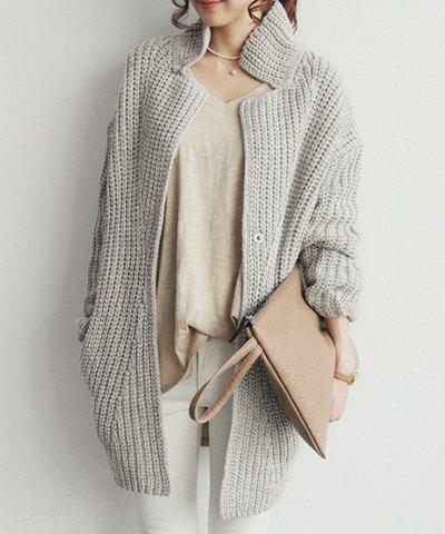 New Stylish Stand-Up Collar Long Sleeve Loose-Fitting Solid Color Knitted Women's Cardigan