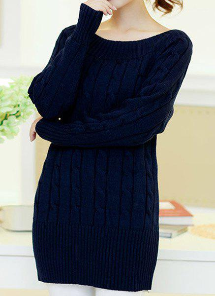 Unique Casual Scoop Neck Solid Color All-Match Long Sleeve Women's Sweater