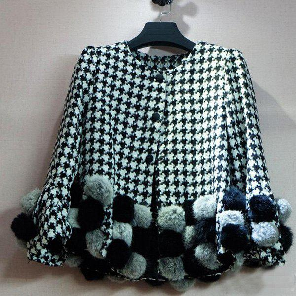 Discount Fashionable Round Neck Houndstooth Pompon Long Sleeve Women's Coat