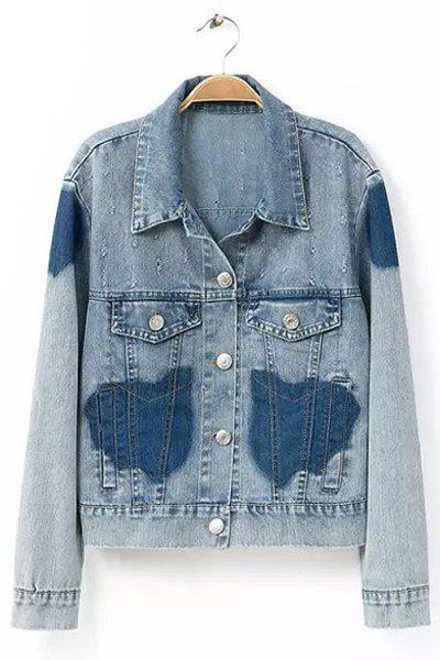 Outfits Stylish Turn-Down Collar Long Sleeve Color Block Frayed Denim Women's Jacket