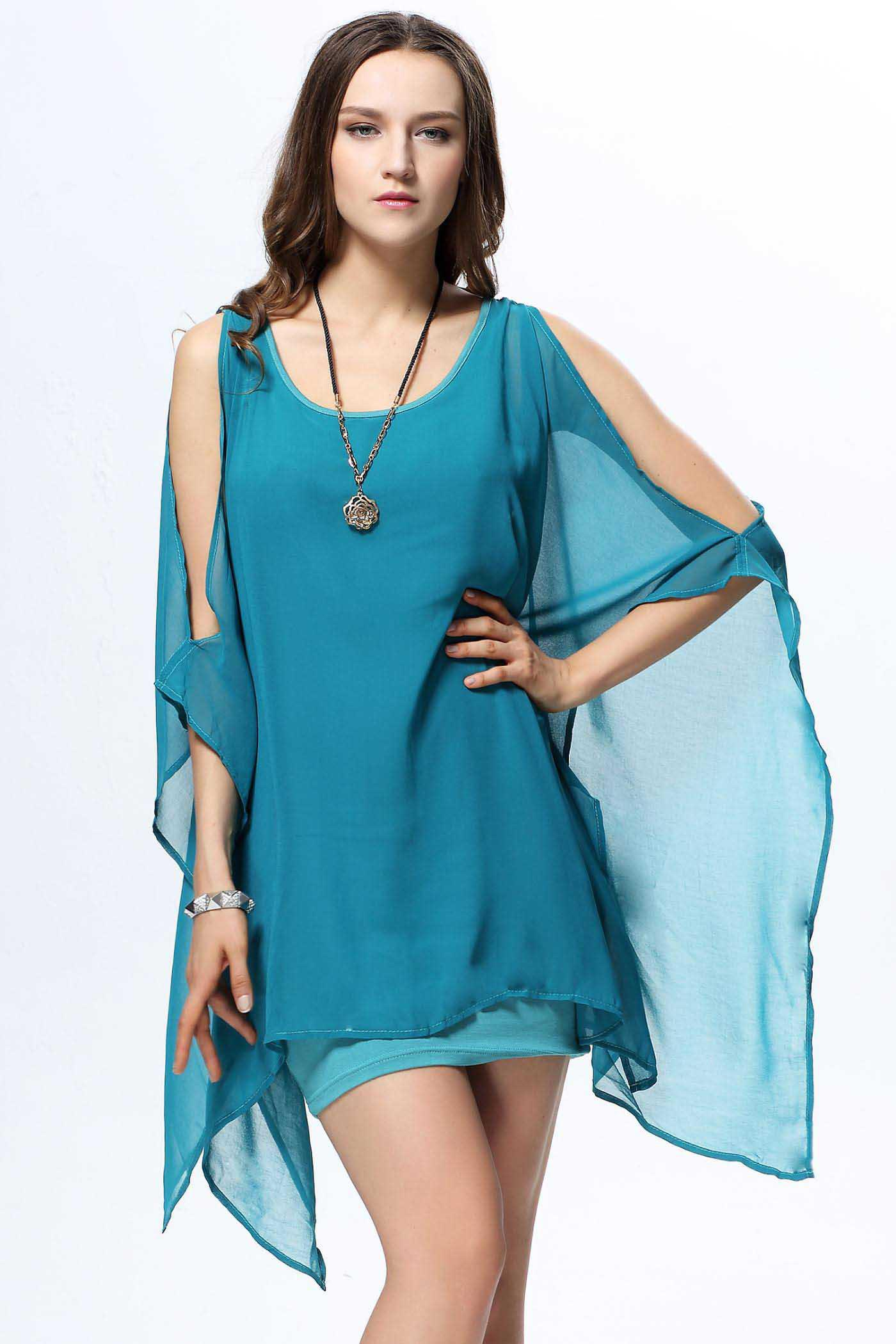 Outfit Trendy Scoop Collar Solid Color Chiffon Cape-Style Knitting Slimming Women's Dress