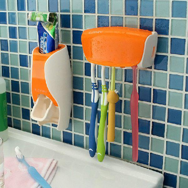 EZ BR01 Automatic Toothpaste Dispenser Squeezer Toothbrush Holder Set Bathroom Household GadgetsHOME<br><br>Color: ORANGE; Type: Fashion,Eco-friendly; For: All; Occasion: Bathroom; Material: ABS; Color: Pink,Black,Green,Orange;