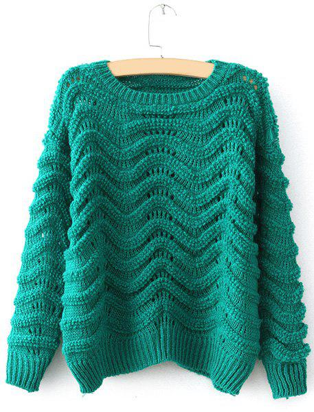 Sale Cute Round Neck Candy Color Openwork Long Sleeve Sweater For Women