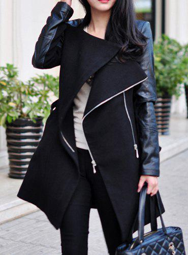 Fancy Stylish Stand-Up Collar Long Sleeve Zippered Spliced Women's Coat