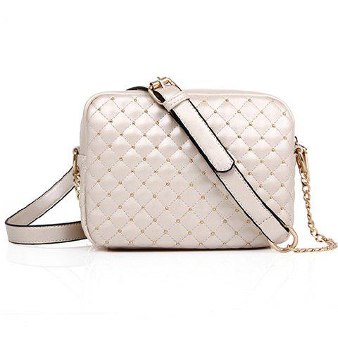 Fancy Stylish Checked and Rivets Design Women's Shoulder Bag