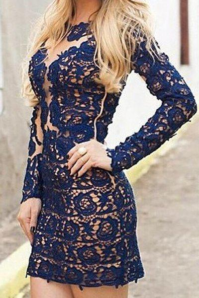 Fashion Sexy Lace Round Neck Long Sleeve See-Through Bodycon Women's Dress