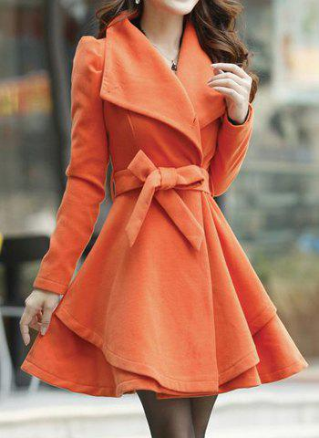Fashion Stylish Long Sleeves Solid Color Single Breasted Belt Wool Coat For Women