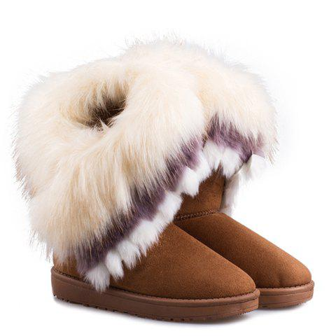 Furry Trim Ankle BootsSHOES &amp; BAGS<br><br>Size: 39; Color: YELLOW; Gender: For Women; Boot Type: Snow Boots; Boot Height: Mid-Calf; Toe Shape: Round Toe; Heel Type: Flat Heel; Closure Type: Slip-On; Shoe Width: Medium(B/M); Pattern Type: Solid; Embellishment: Fur; Upper Material: Suede; Weight: 1.1200kg; Season: Winter; Package Contents: 1 x Snow Boots (pair);