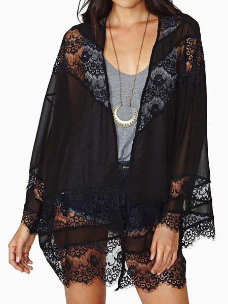 New Fashionable Lacework Splicing See-Through Long Sleeve Women's Chiffon Kimono